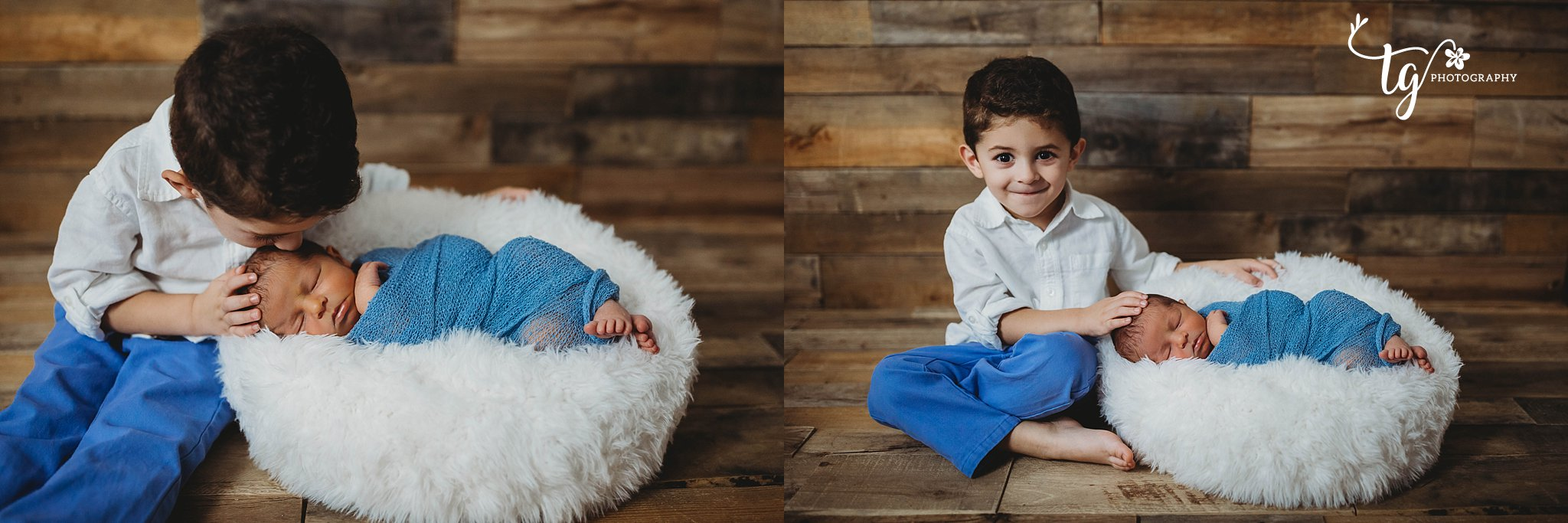 rustic sibling with newborn photography