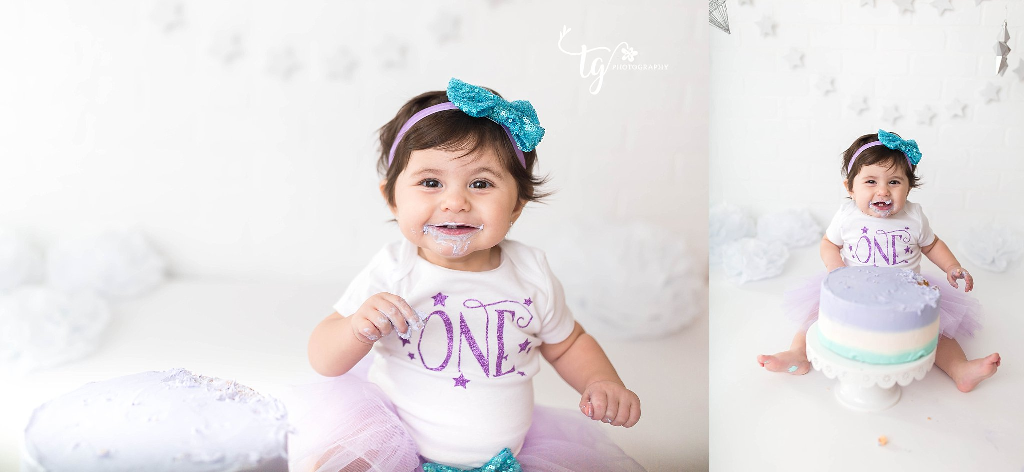 bright white sets for birthday photos