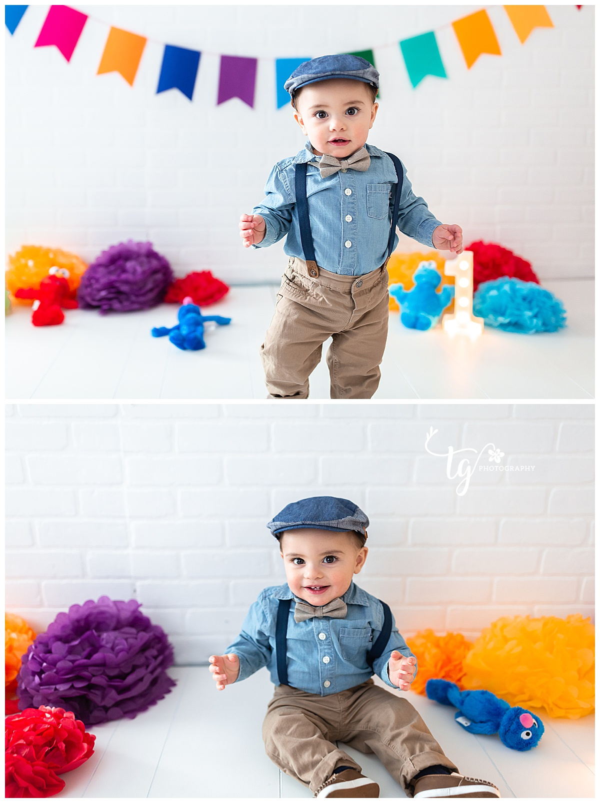 modern first birthday photo session
