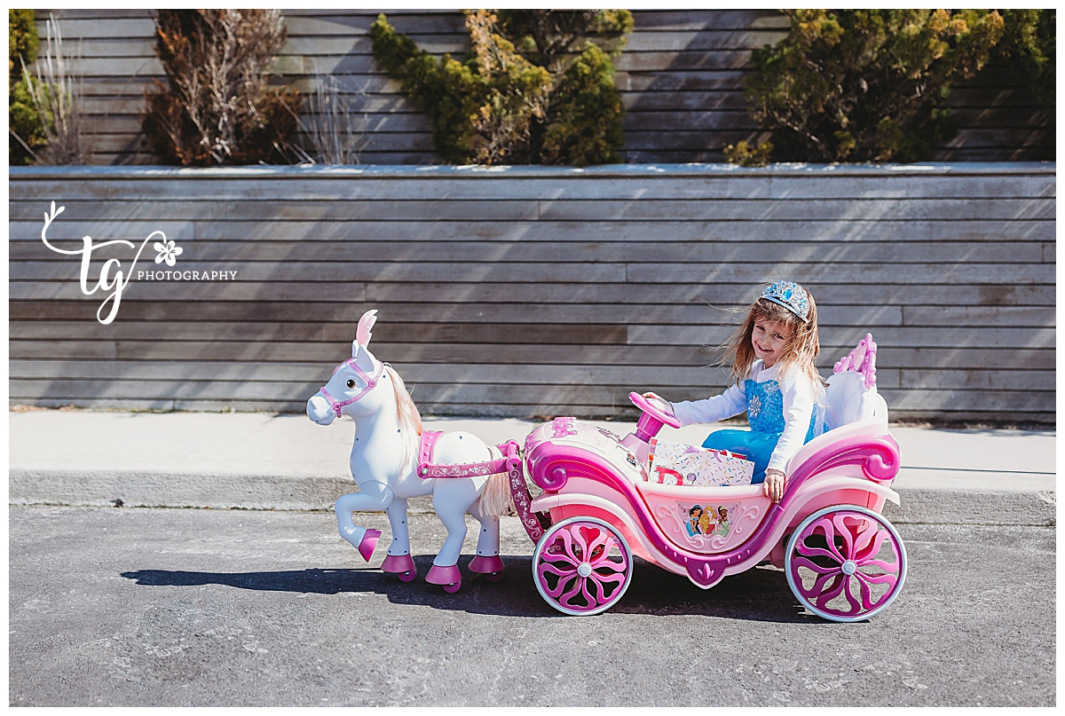 toddler girl wearing Elsa costume in her chariot motorized carriage