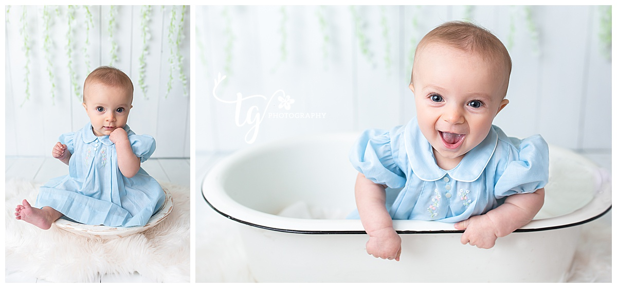 six month old sitter photos