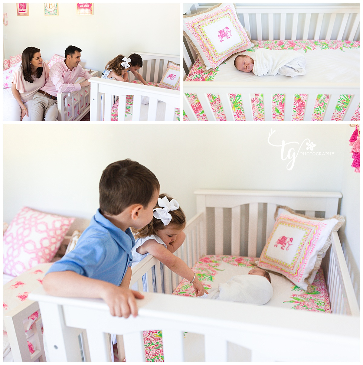 toddlers looking at sleeping newborn sister in her pink and white crib