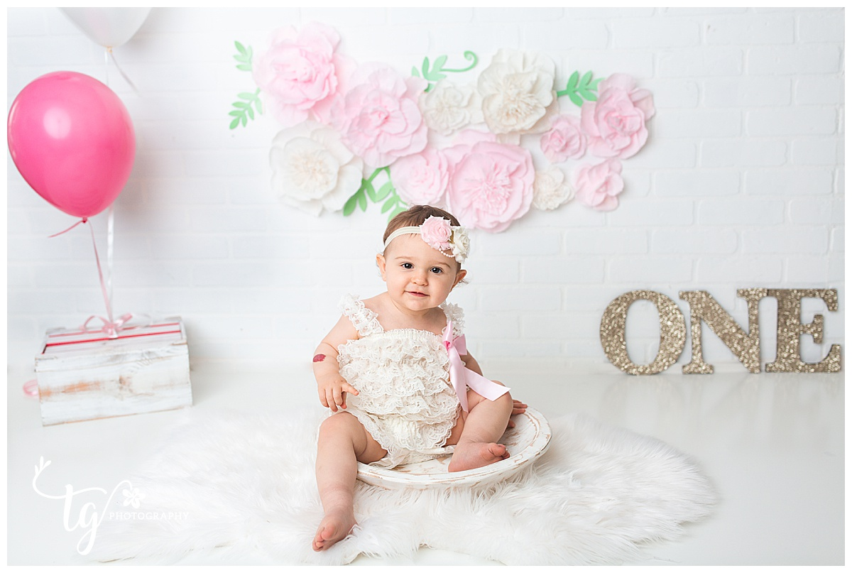 boho paper floral first birthday session