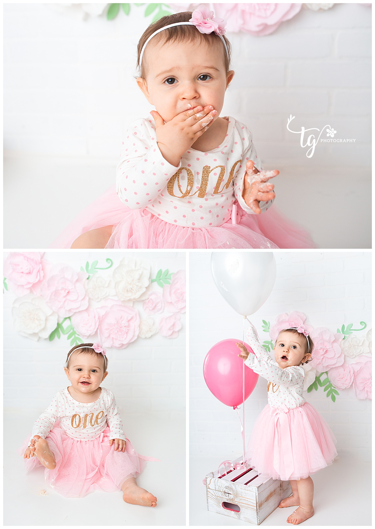 cake smash photographer with simple sets