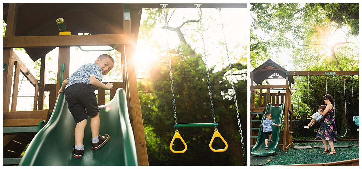 little boy climbing playhouse at sunset