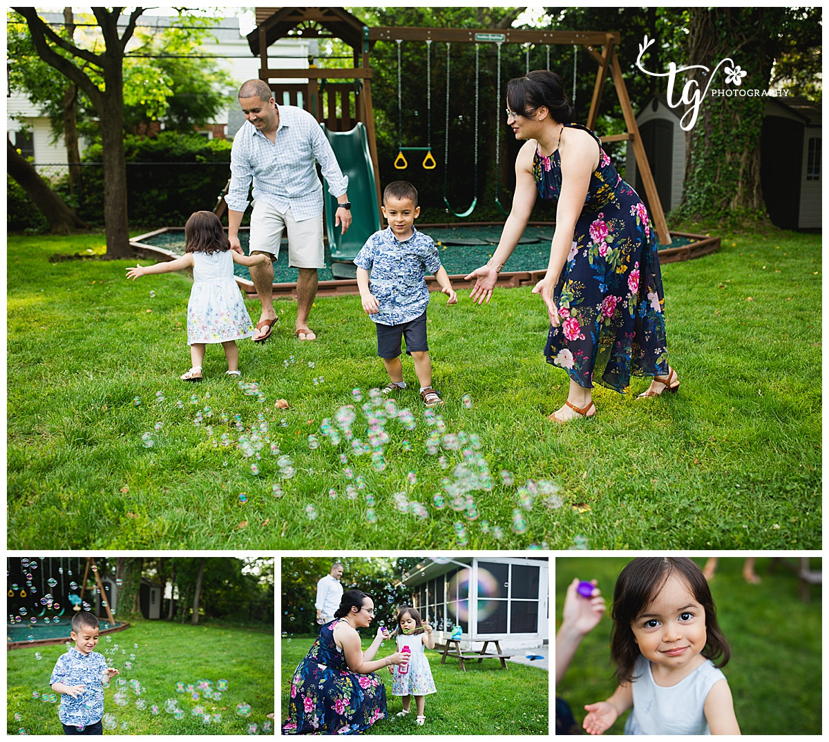 family playing with bubbles in the yard in front of swing set with toddlers