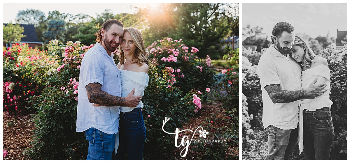 first birthday photo session at a rose garden