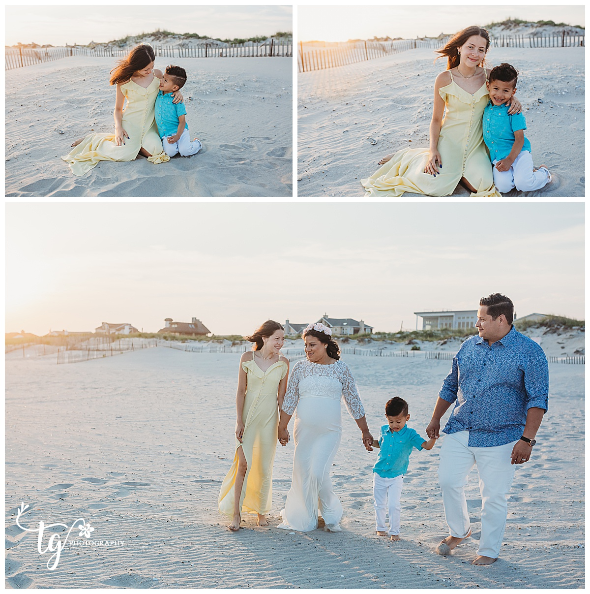family session on the beach at sunset