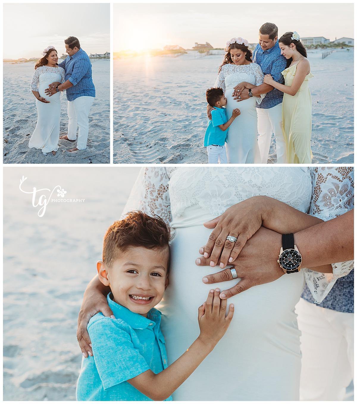 beach family maternity session