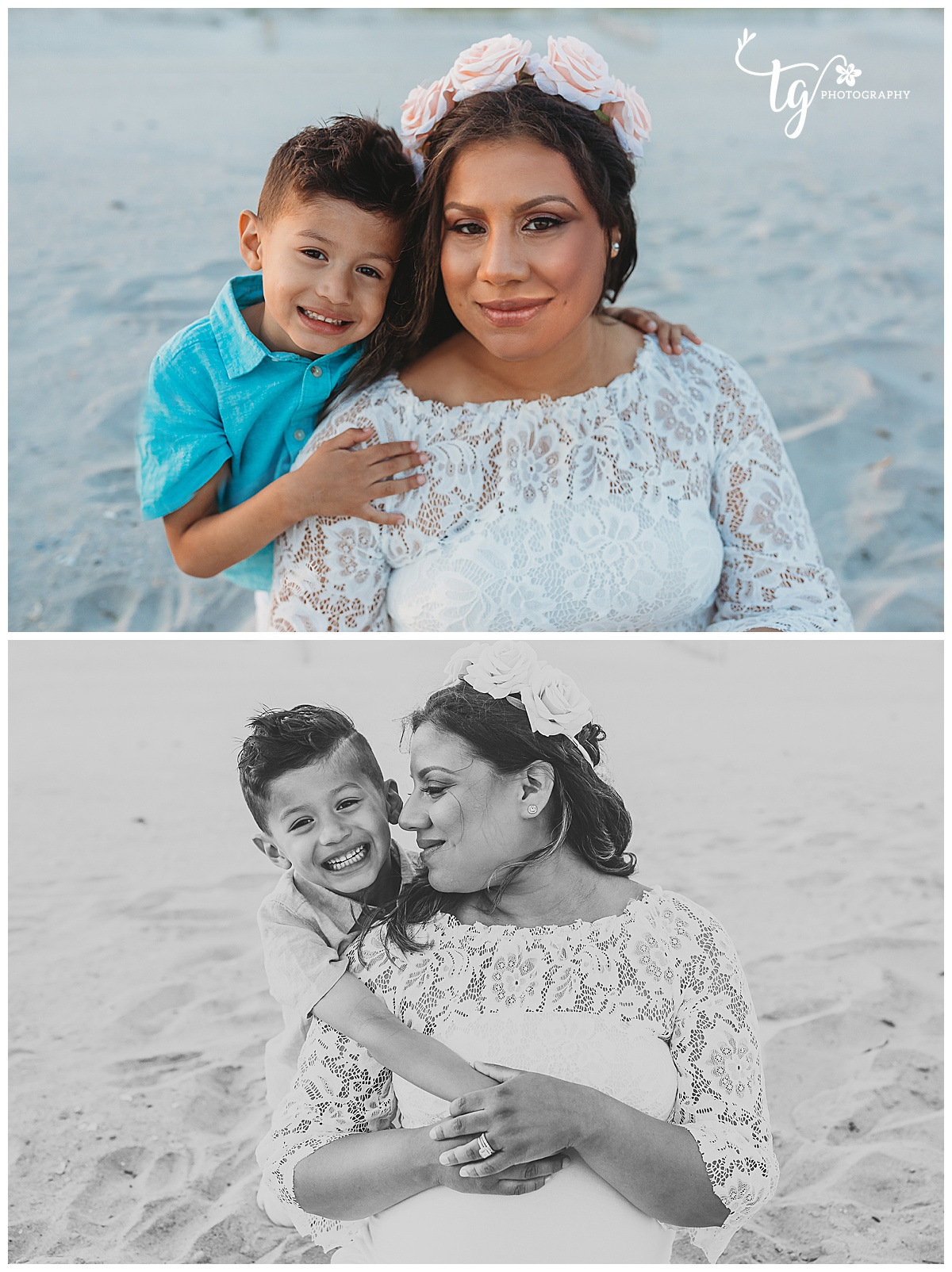 mother and child beach photo session