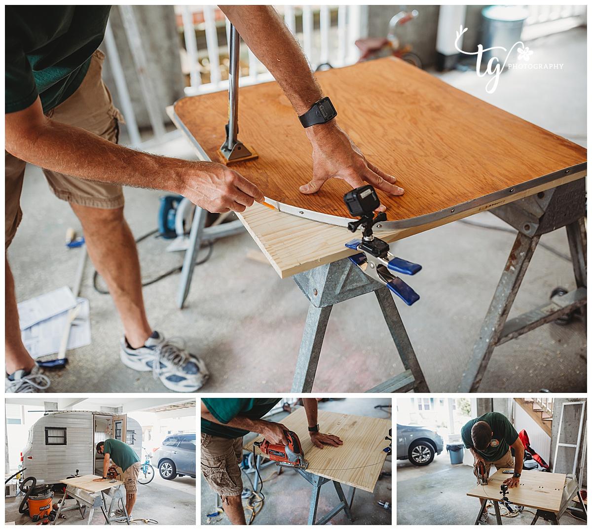 man building table for camper