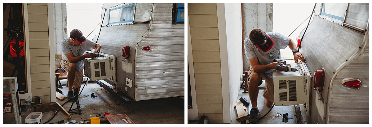 man adding air conditioning to a 1969 Playmor camper