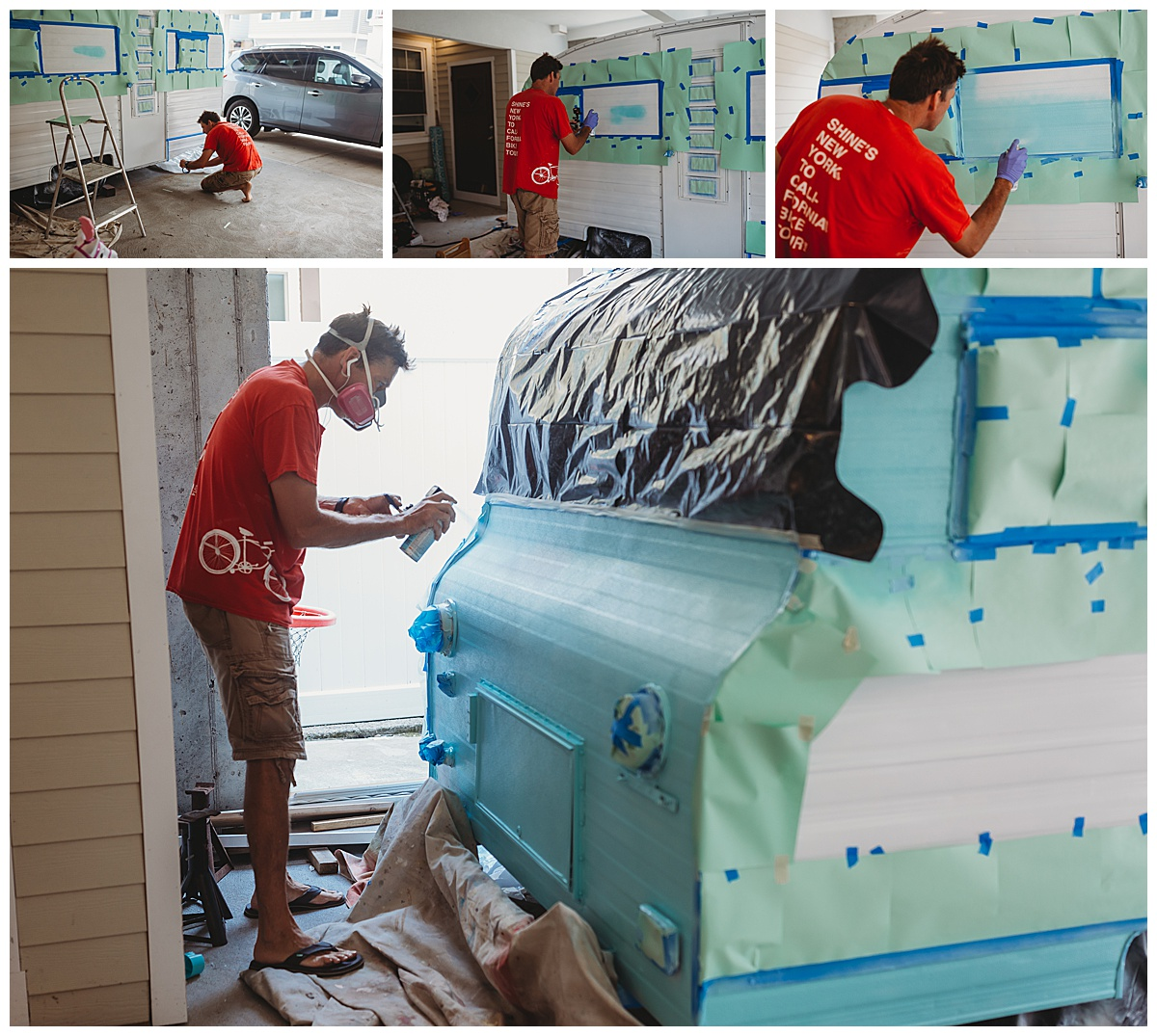 Man painting a 1969 Playmor camper