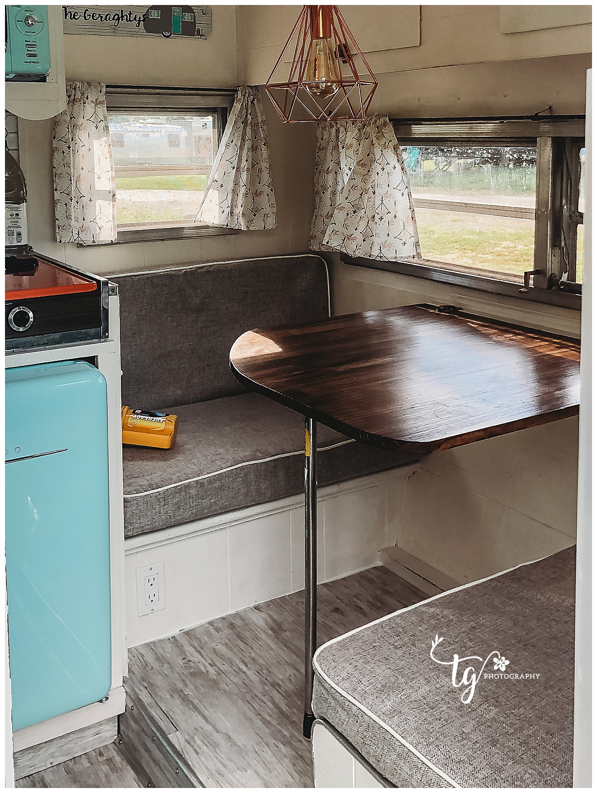 renovated table in 1969 camper
