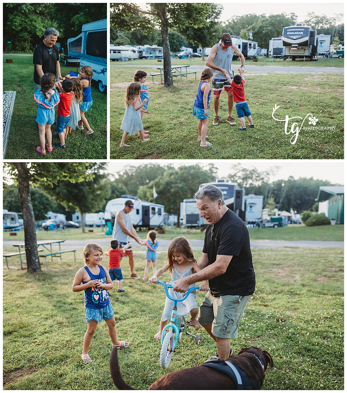 kids playing on campground with grandfather