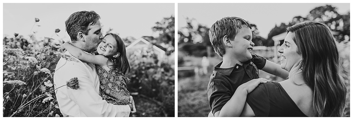 black and white images of a mom and a dad holding child
