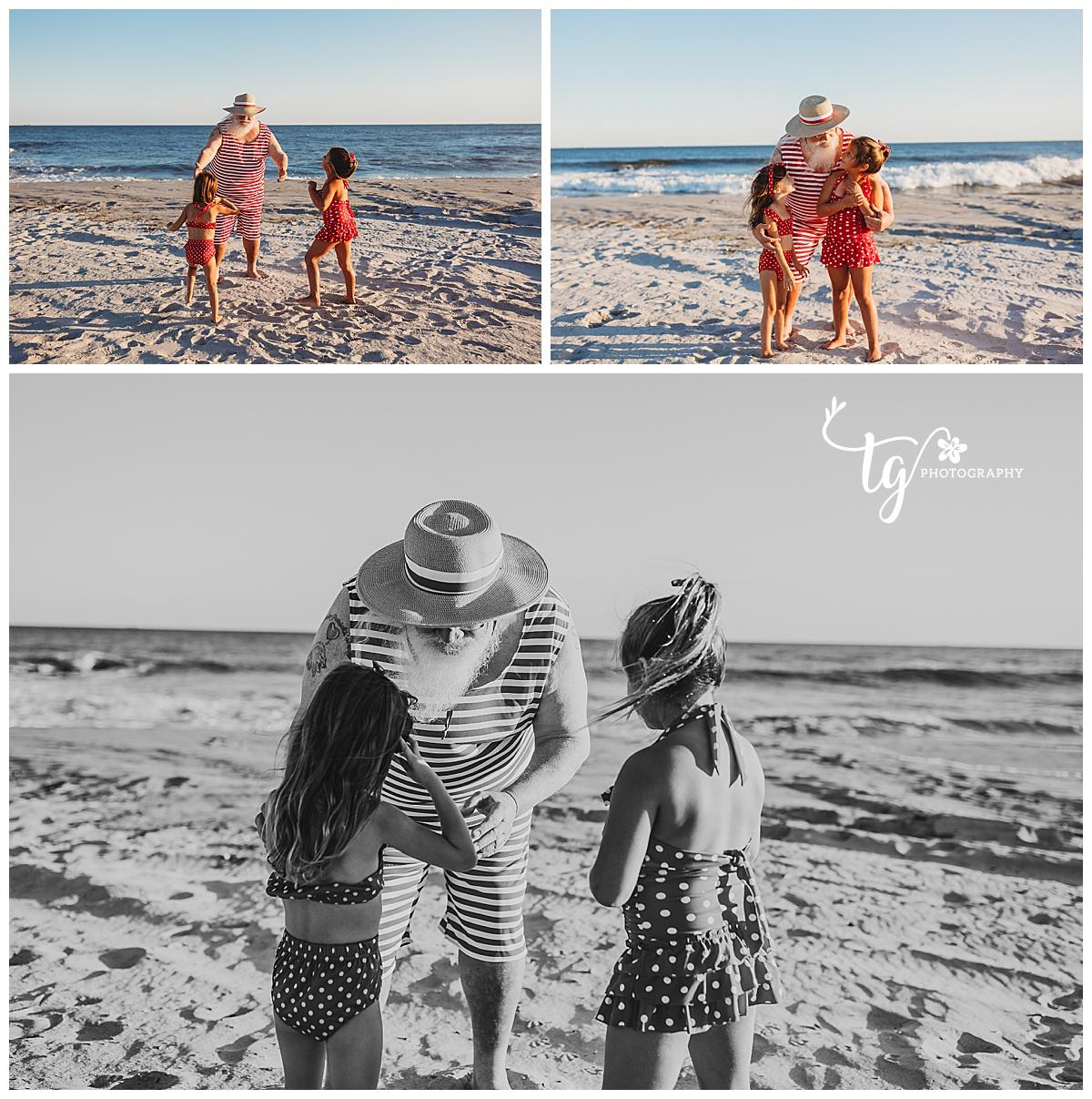 vintage styled beach Santa holiday photo session