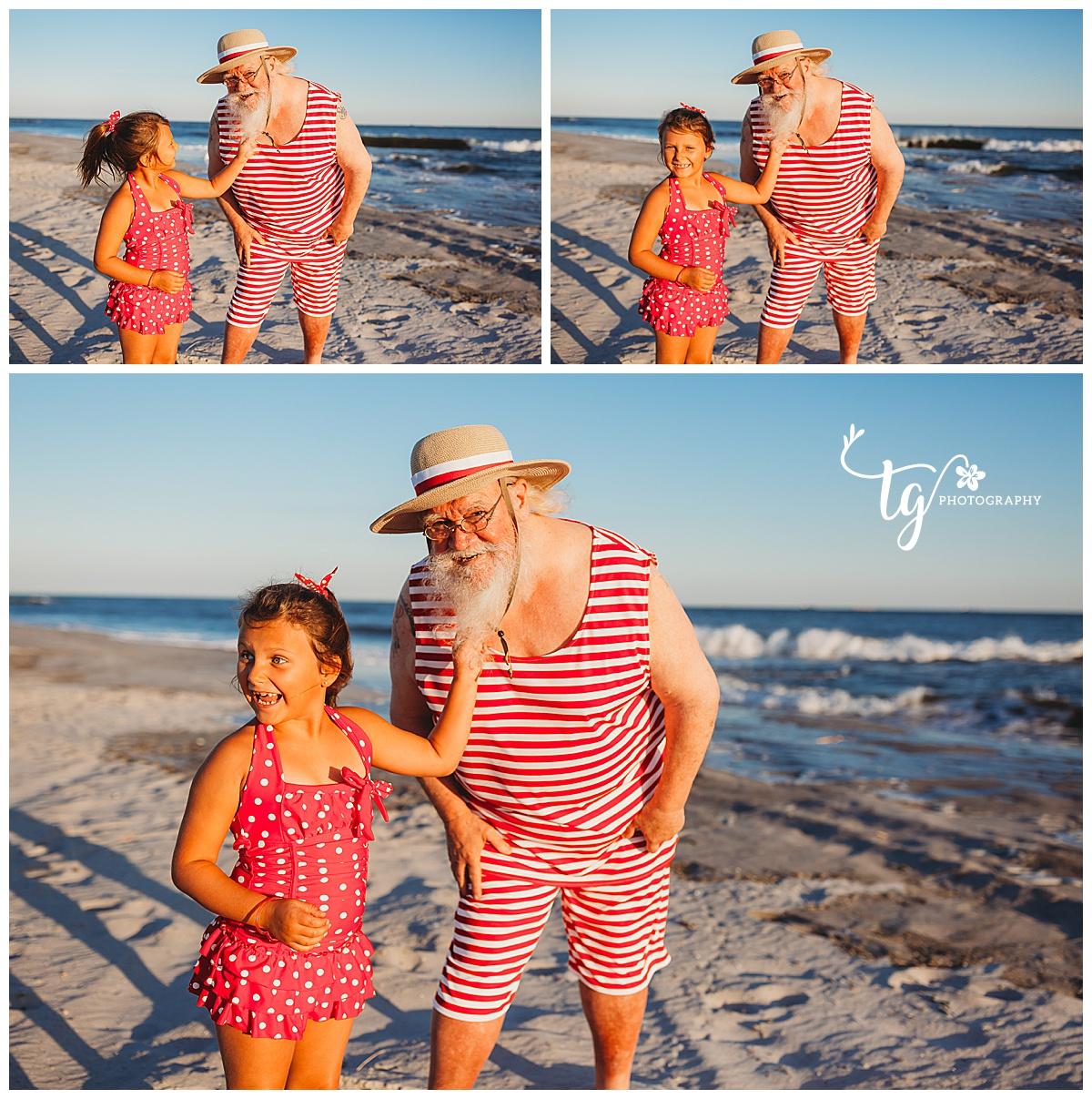 real beard Santa Claus holiday mini session on the beach