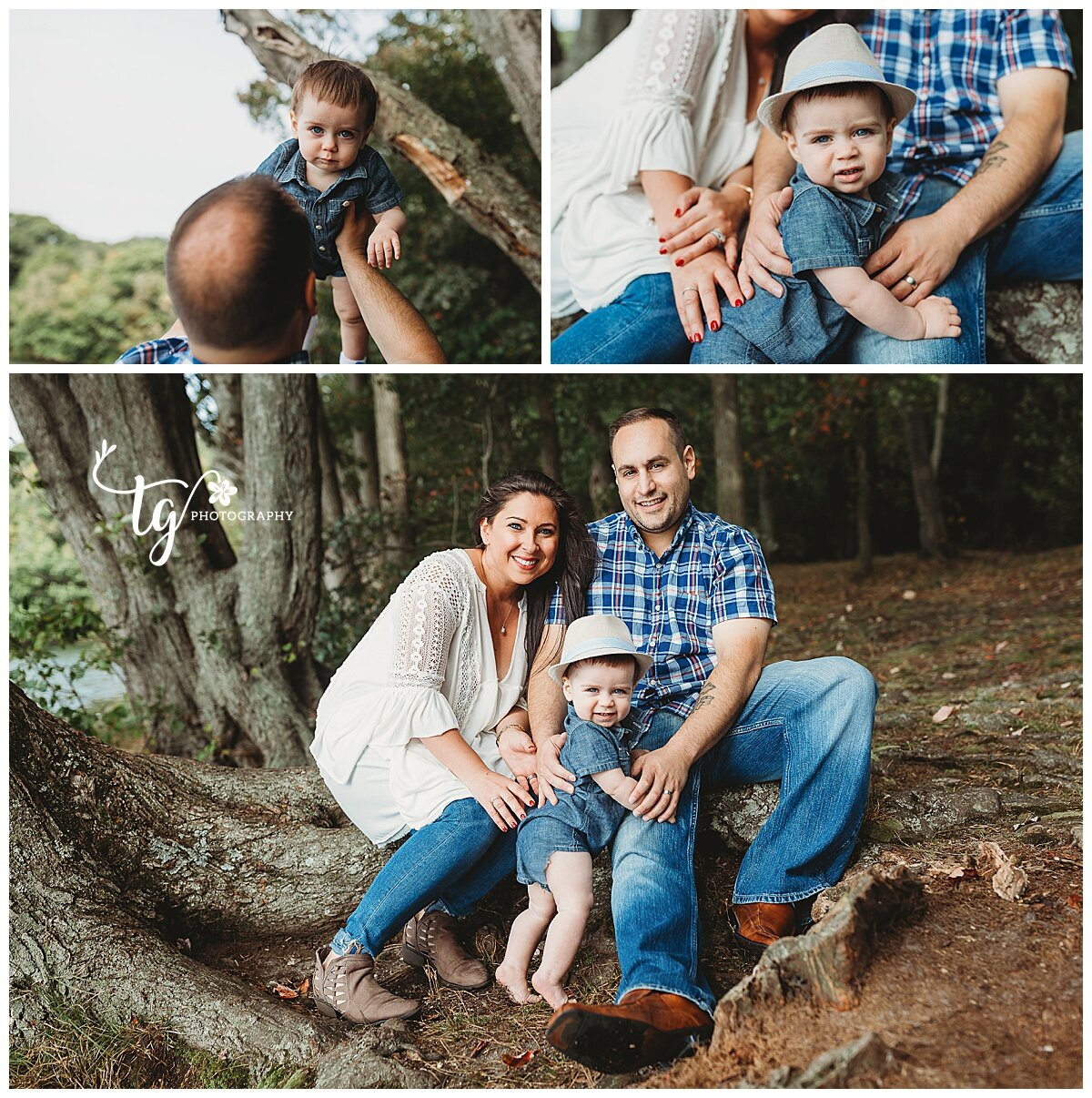 family seated on tree trunk by lake