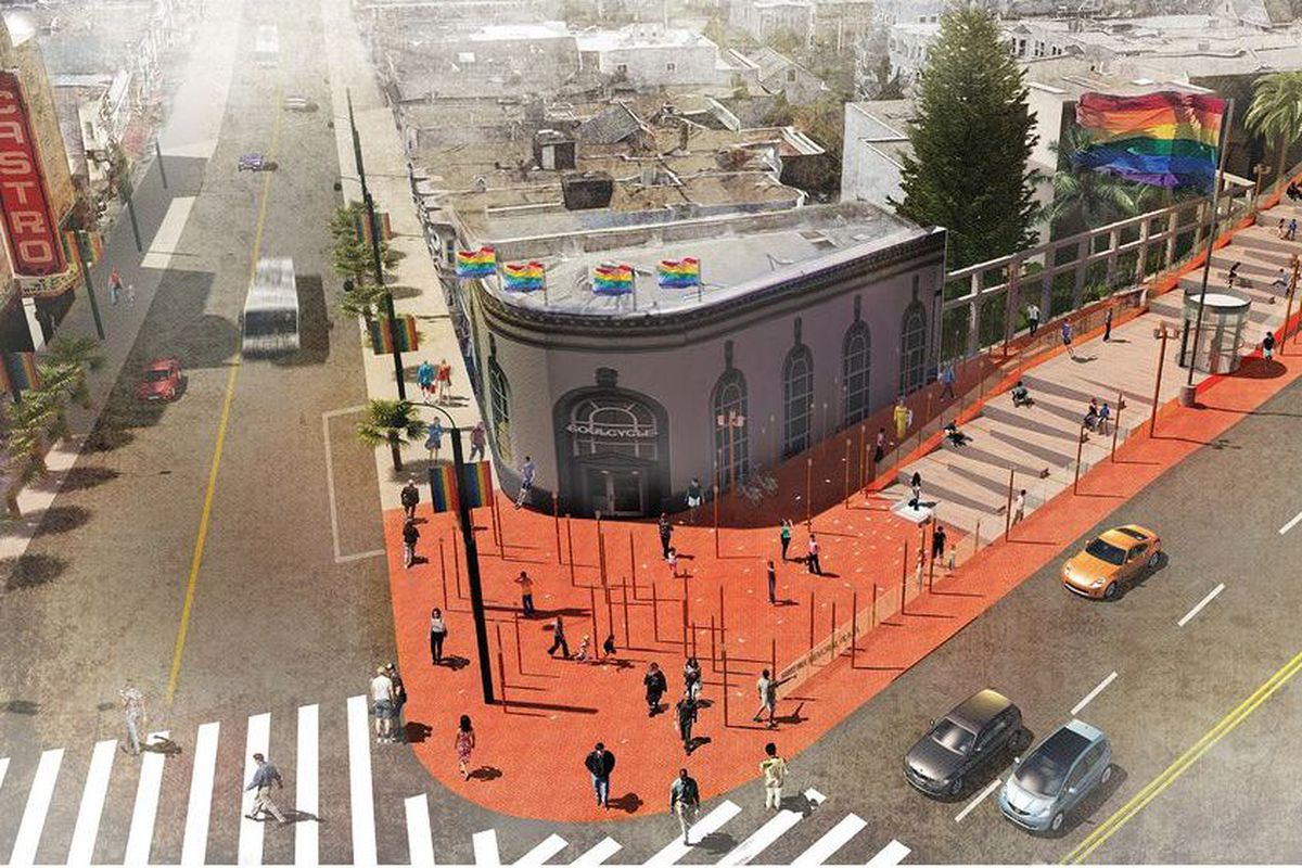 The winning design for Harvey Milk Plaza included a tiered rise for public expression, lanterns inspired by candlelight vigils, and a winding path through the story of Harvey Milk's life and legacy. (Image: Perkins Eastman)