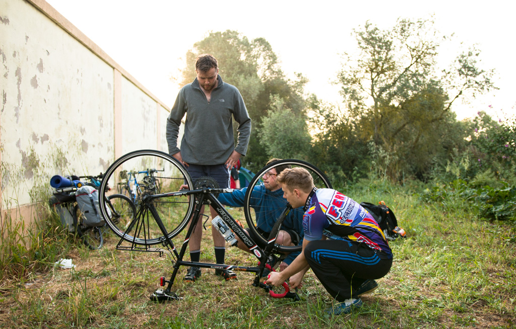 © Harry Crotty:Puncture checks, Billy did it, Luke helped, Tom helped, Harry took photos and I watched