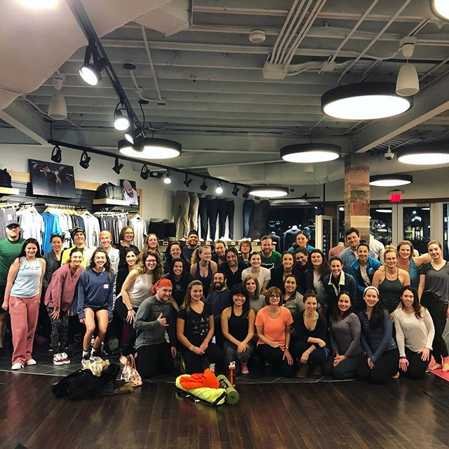 i can't figure out why most of our eyes are closed in the second picture but we did the dang thing and, more importantly, had fun doing it together. keep supporting local yoga every thursday night at @lululemon garden city! @thebarreandyogaexperience #riyoga #gardencitycenter #yogaeverydamnday #lululemon