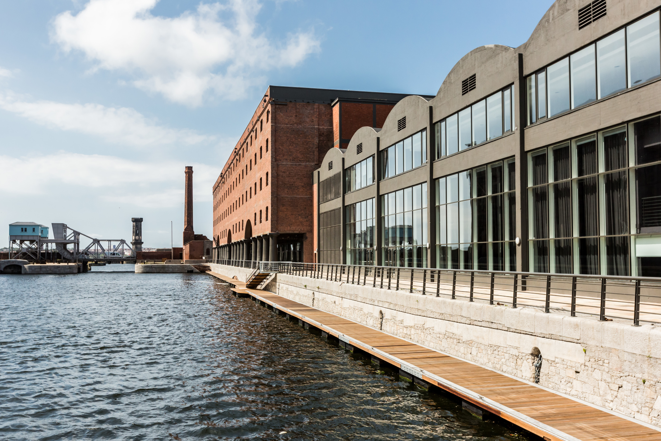 Waterfront location at the Rum Warehouse event space in Liverpool's Stanley Dock