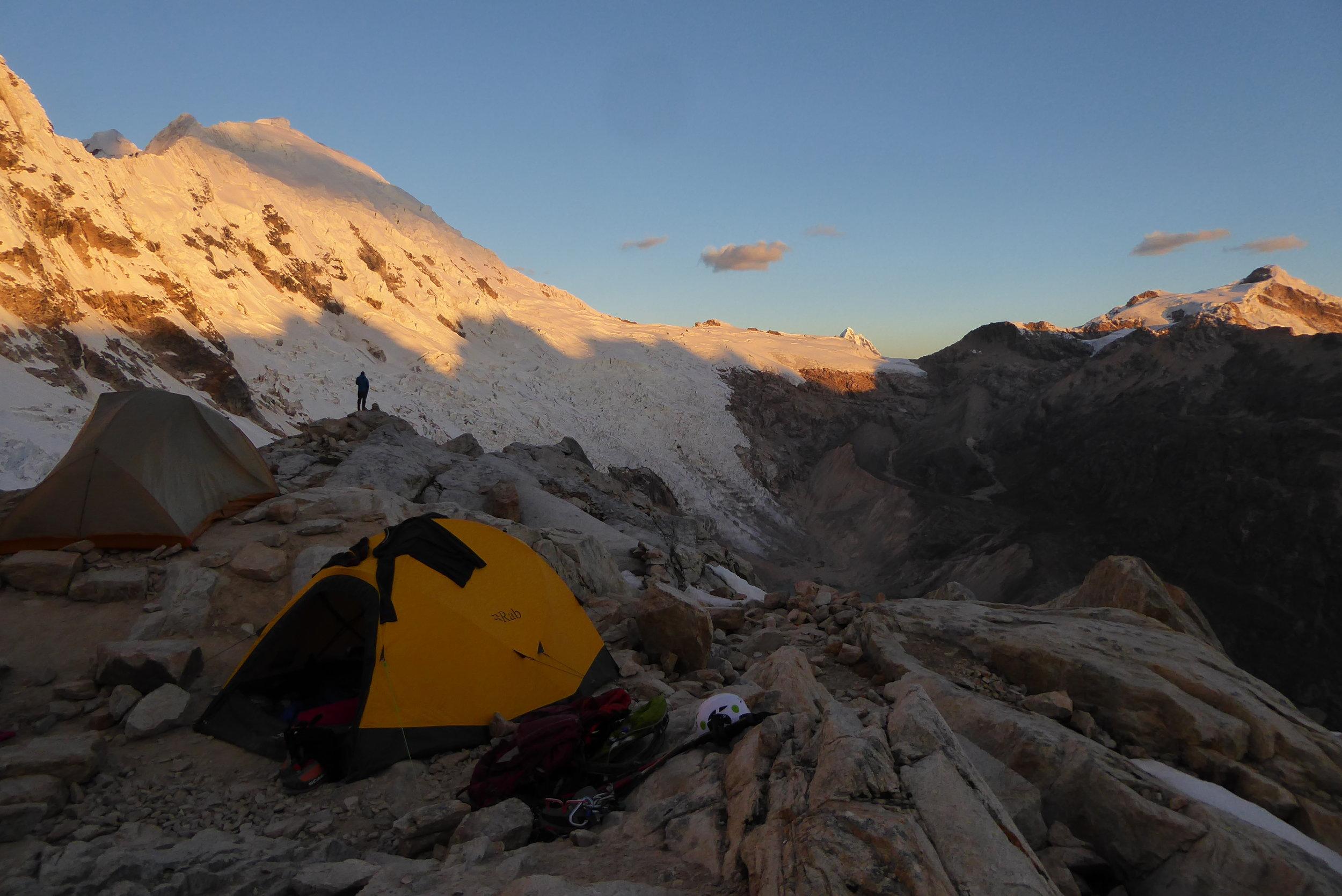Peru Expedition   Camp high on Tocllaraju's shoulder
