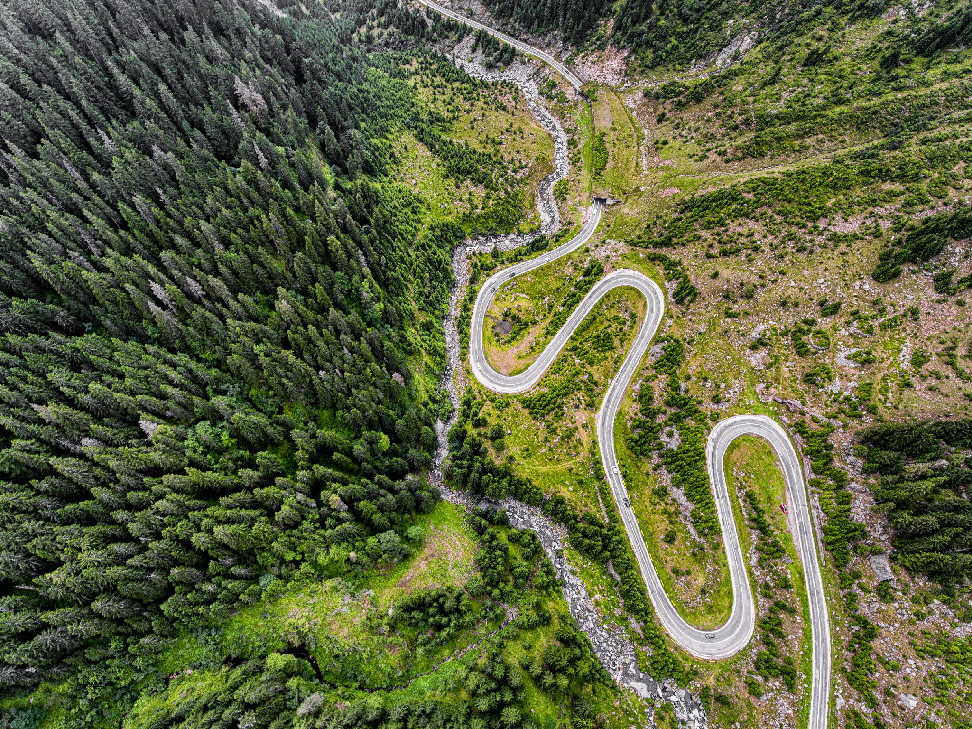 Aerial view of the Transfagarasan Highway. Copyright Martin Cycling Adventures