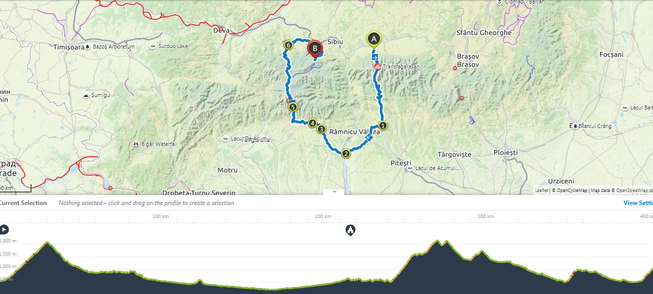 transfagarasan cycling map
