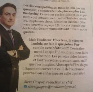 """Même Migros Magazine s'est penché sur la question, juste avant d'intituler un article """"Pour Constantin, un vrai Noël rime avec neige""""."""