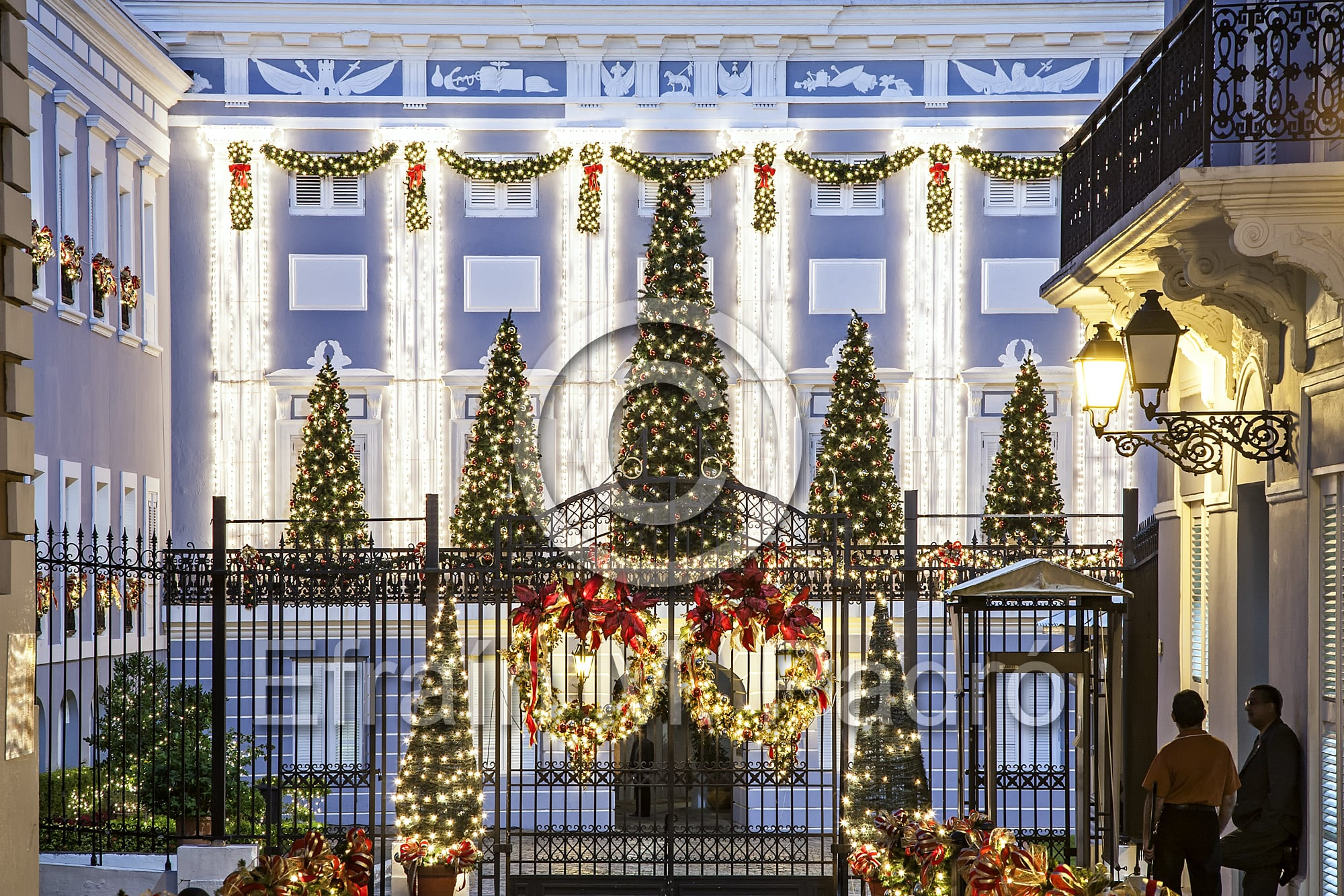 La Fortaleza (governor's mansion) decorated for Christmas, Old San Juan, Puerto Rico