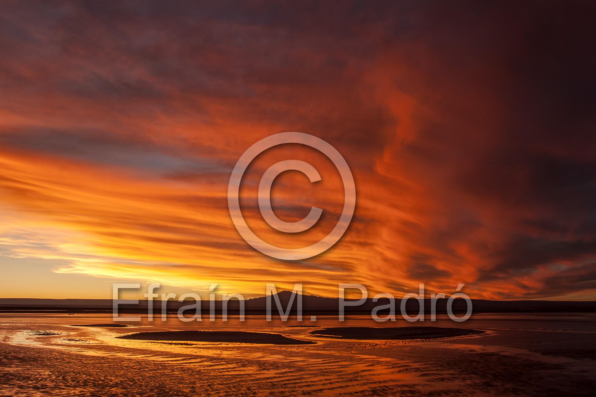 Sunset clouds over Chaxa Lagoon, The Flamingos National Reserve, Soncor Sector, Salar de Atacama, Chile