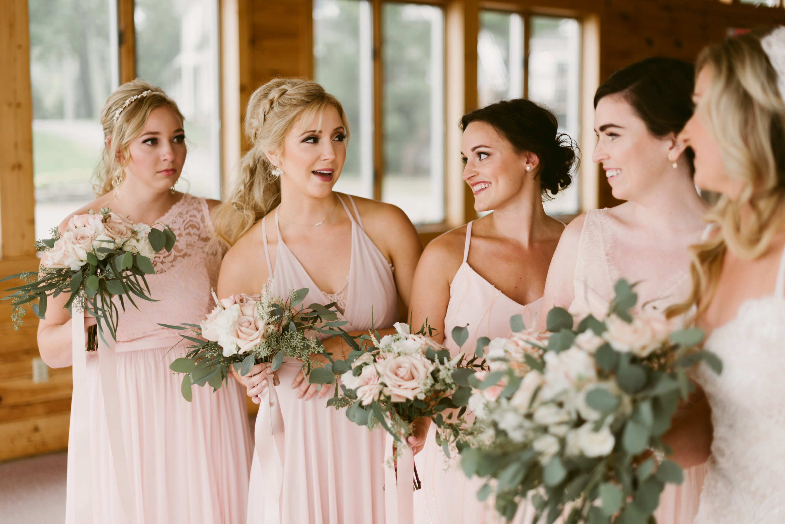 makeup by leah Francesca / hair by Chelsea goodier & jaysie walts of hair creations / photography Mountainaire gatherings / bridal party