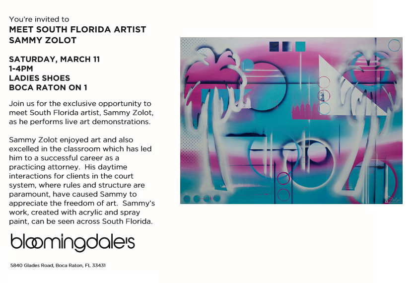"Sammy Zolot was Bloomingdale's featured artist for their Spring 2017 ""Art & Fashion"" campaign and has done live art installations throughout the season."