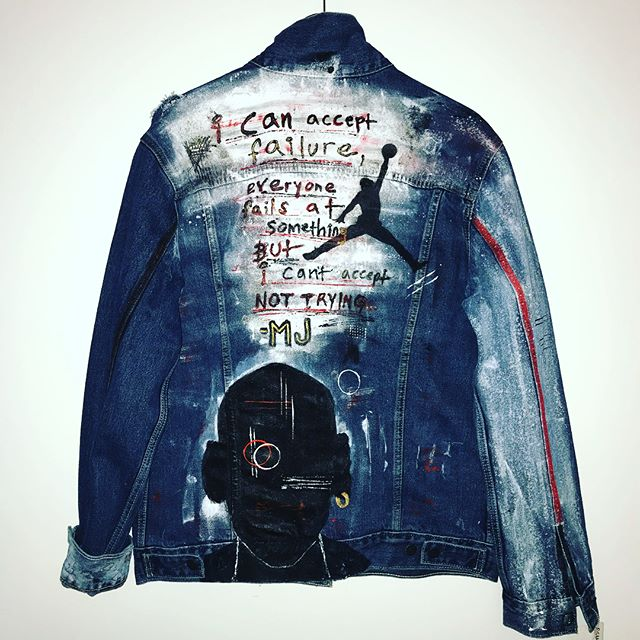 Levi's x Jordan #custom @levis #denim jacket i did in collab with the release of the new @jumpman23 Jordan/Levi's  4's 🙌🏻