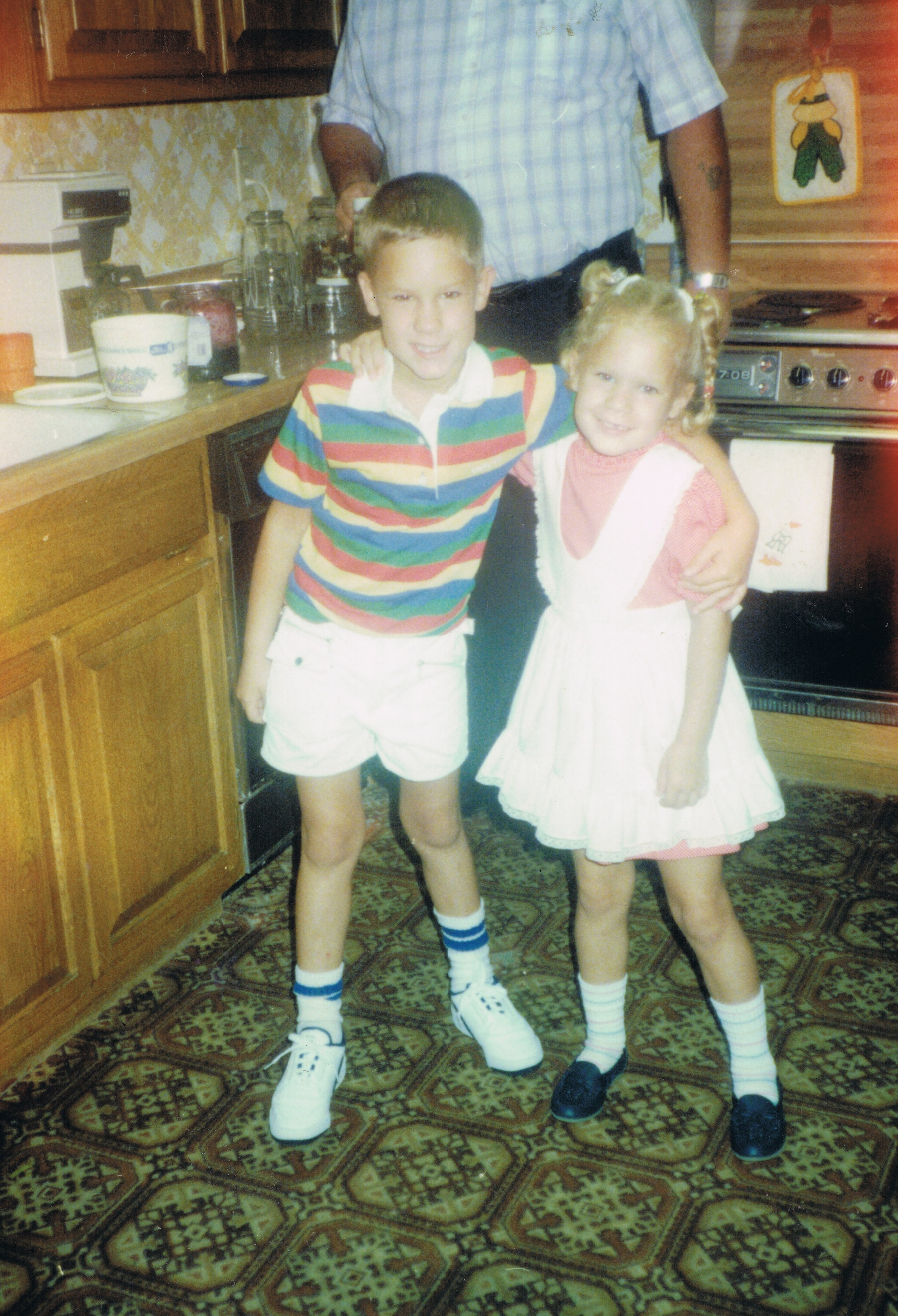 1986 John and Heather first day of school.jpeg