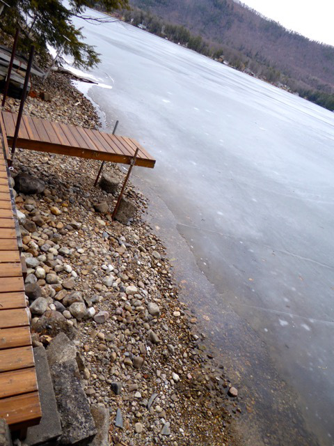 Mid afternoon, we see the ice retreating from the edges