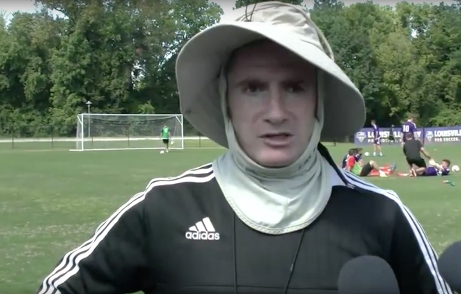 Coach O' Connor is known for organizing strong defenses both on the field and against the sun.