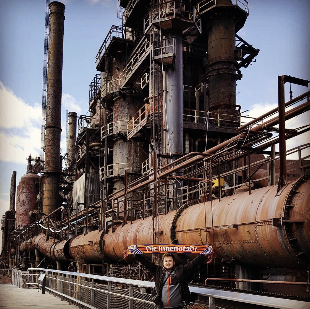 Ryan in front of the Bethlehem Steel plant.