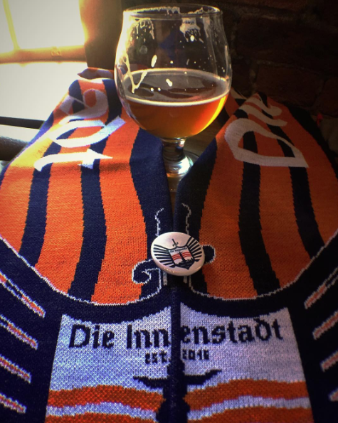 Scarves will be available for pickup at rhinegeist before the match. If you're looking to join Die Innenstadt, you can put your name on the list for the next round of scarf orders.