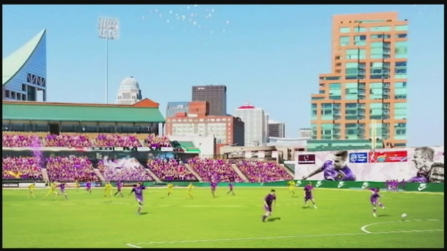 Rendering of Louisville City FC at Slugger Field via tv station WLKY.