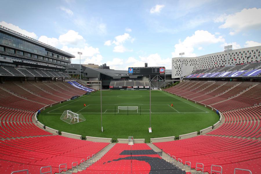 The University of Cincinnati's Nippert Stadium in its soccer configuration.
