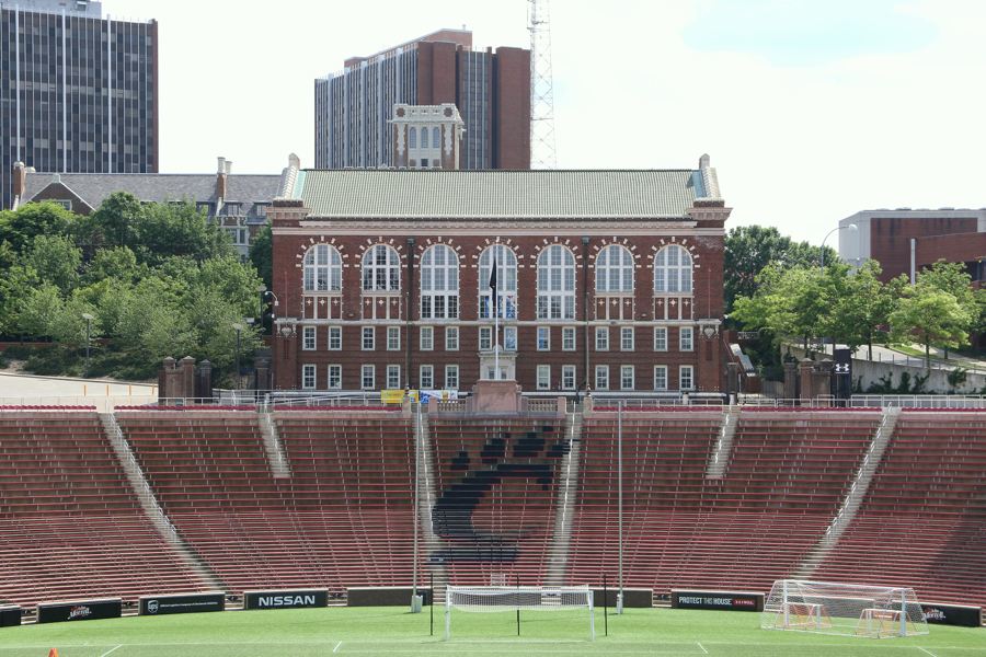 The former Schmidlapp Gymnasium (now the Dieterle Vocal Arts Center) is an iconic structure at the stadium's south end.