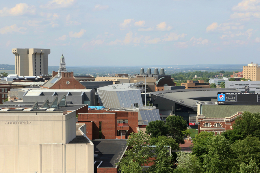 Nippert Stadium sits at the heart of The University of Cincinnati's campus and uptown Cincinnati. In this photograph, the pavillion/club seat structure can be seen at center, while the scoreboard is seen at right.