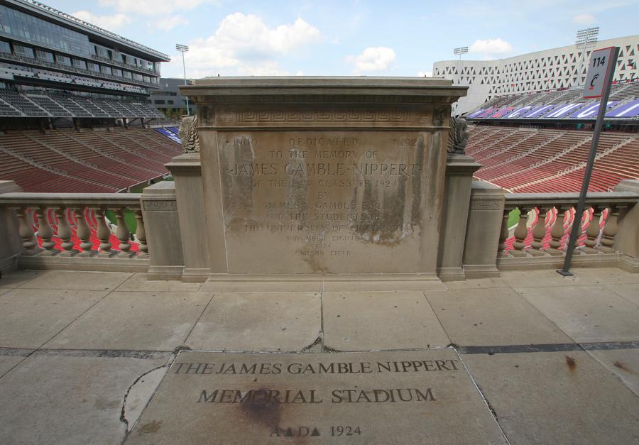 The stadium's dedication plaque.
