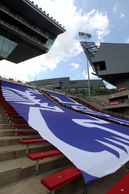 Nippert's seating capacity is usually artificially reduced for soccer through the use of tarps bearing FCC imagery. For matches where attendance is high (like the league record setting one against Pittsburgh), the tarps are removed.