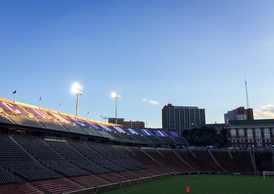The sun sets on Nippert Stadium following the last match of the season.