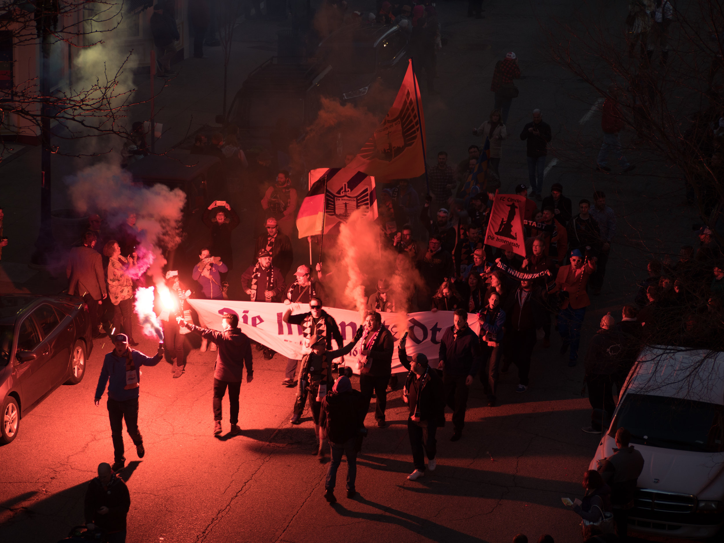 Smoke & Flares during the march in the Bockfest Parade, 03/02/2018