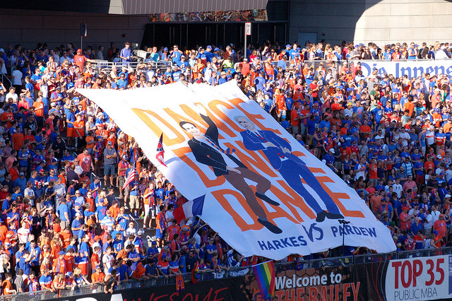 """Maybe if people weren't punching this tifo, everyone at the game wouldn't have had to refer to this picture to see the awesome artwork we painted on it. """"Who were those guys painted on the tifo?"""" """"IDK, it said Harkes and Pardew, but it was being punched so much I couldn't tell if it was their beautiful faces or not."""" DO. NOT. PUNCH. THE. TIFO. [Photo by:  H. Schiff ]"""